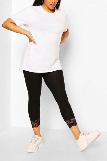 Black Plus Lace Trim 3/4 Leggings