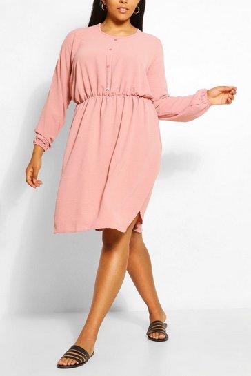 Blush Plus Linen Look Button Smock Dress