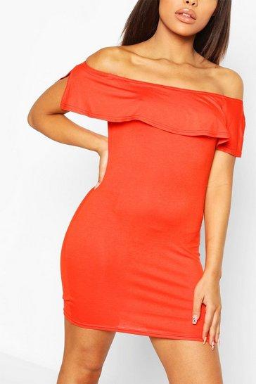 Orange Petite Off The Shoulder Frill Bodycon Dress