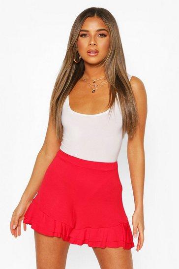 Red Petite Double Frill Hem Shorts