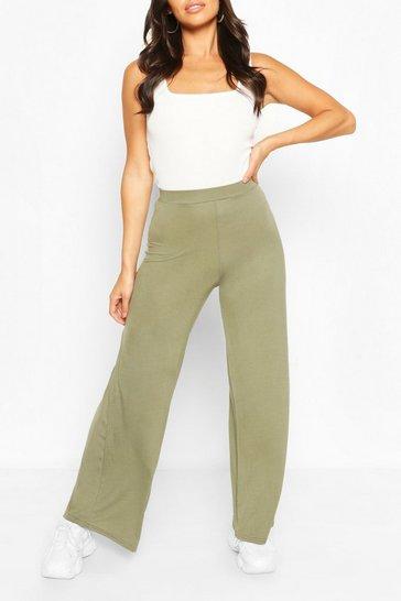 Khaki Petite Wide Leg Trousers