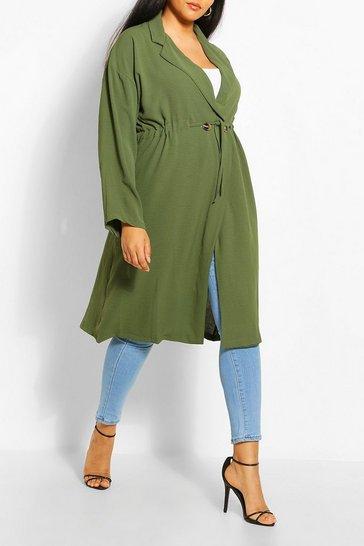 Khaki Plus Double Breasted Drawstring Waist Duster Coat