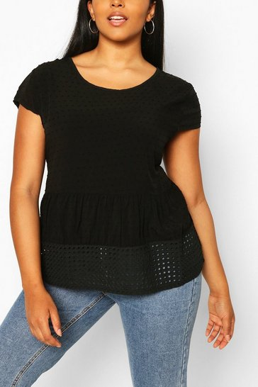 Black Plus Cotton Look Dobby Smock Top