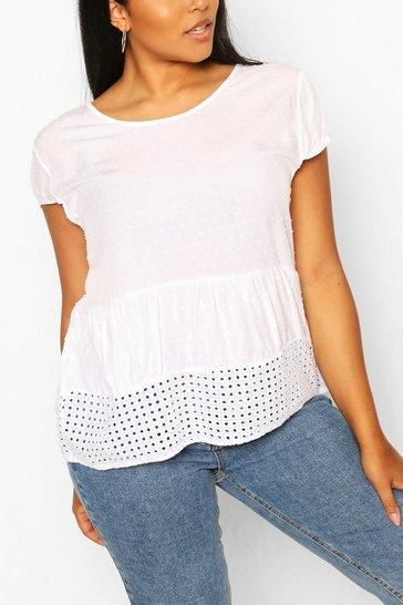 White Plus Cotton Look Dobby Smock Top
