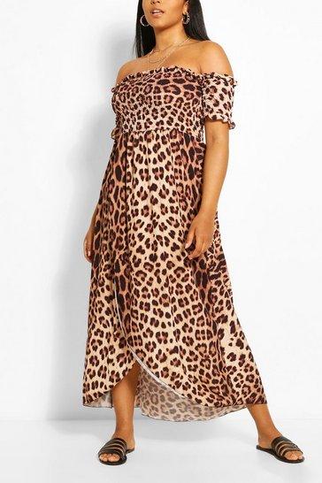 Brown Plus Leopard Print Off Shoulder Maxi Dress