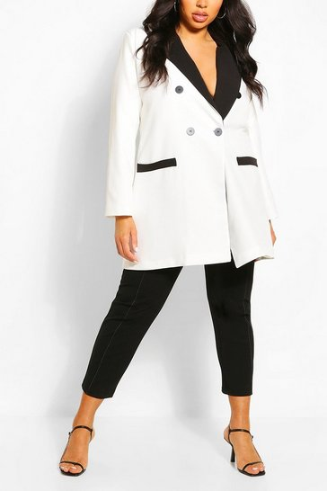 White Plus Contrast Detail Longline Blazer