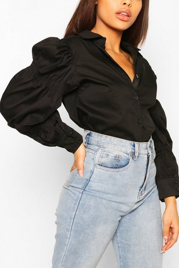 Black Petite Volume Sleeve Shirred Detail Shirt