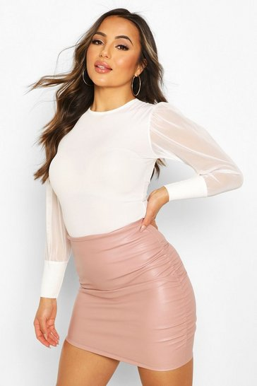 Rose Petite Ruched PU Mini Skirt