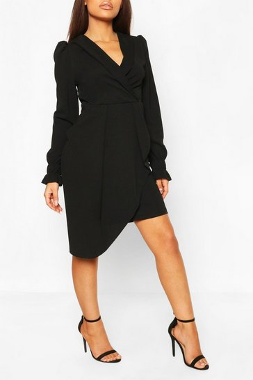 Black Petite Wrap Front Volume Sleeve Blazer Dress