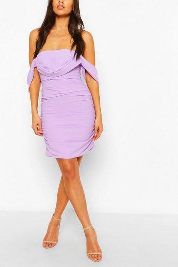 Lilac Petite Ruched Bardot Dress