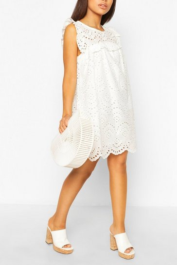 White Petite Frill Detail Broderie Smock Dress