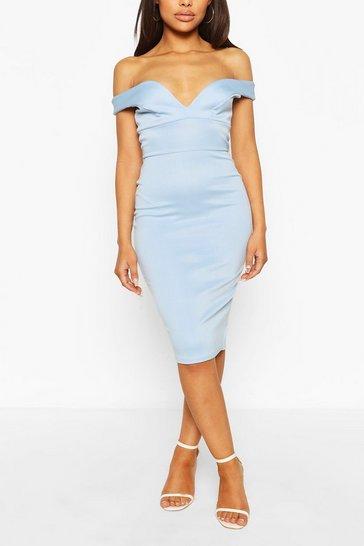 Blue Petite Off The Shoulder Dress