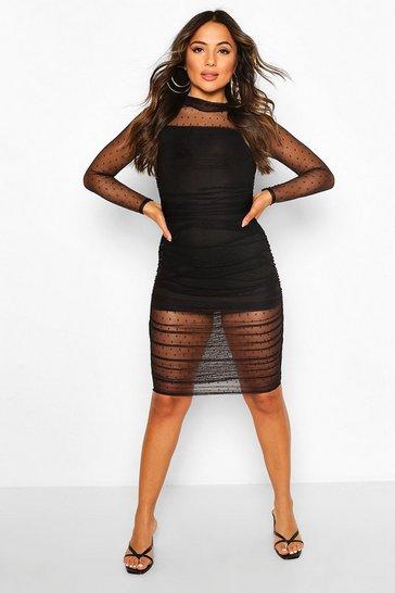 Black Petite Dobby Mesh Ruched Midi Dress