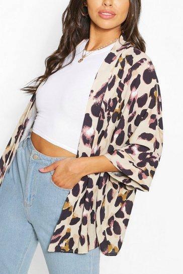 Brown Petite Leopard Woven Kimono