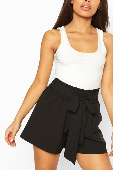 Rose Petite Shirred Tie Front Shorts