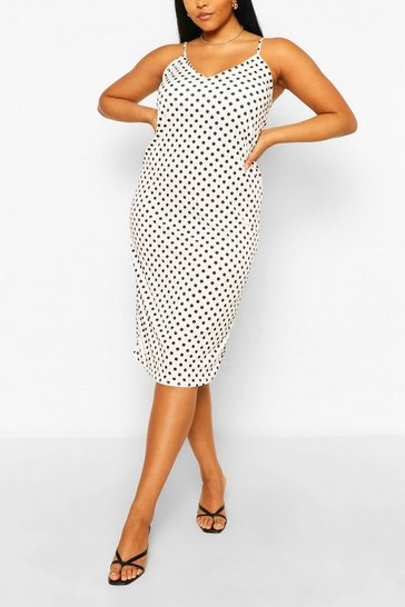 White Plus Polka Dot Cami Midi Dress
