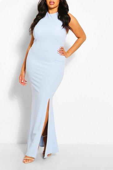 Sky Plus Halterneck Thigh High Split Maxi Dress