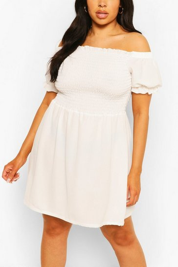 White Plus Shirred Off The Shoulder Beach Dress