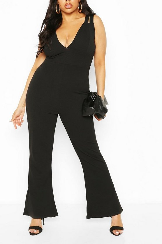 Plus Double Strap Plunge Jumpsuit