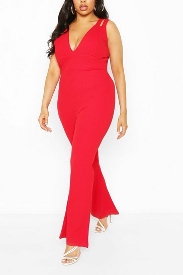 Red Plus Double Strap Plunge Jumpsuit