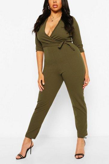 Khaki Plus Wrap Belted Tailored Jumpsuit
