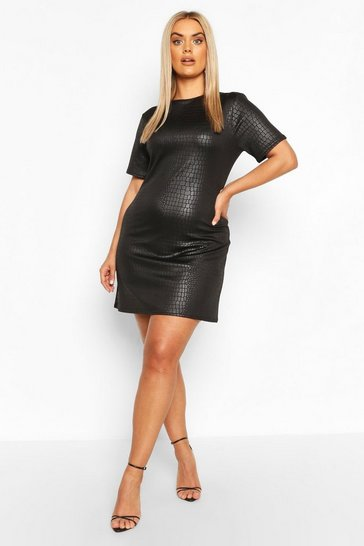 Black Plus Croc Pu Shift Dress