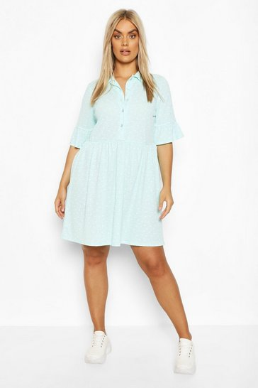 Mint Plus Shirt Smock Dress