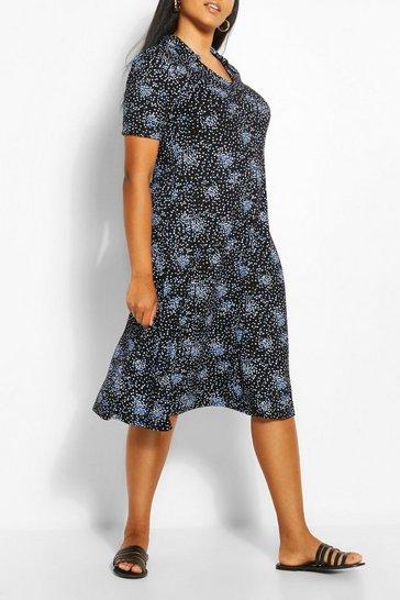 Black Plus Collar Detail Midi Dress
