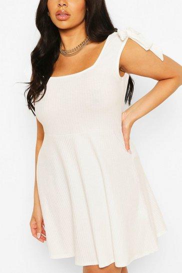 Ivory Plus Soft Rib Tie Shoulder Skater Dress