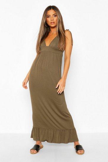 Khaki Petite Tie Strap Jersey Maxi Dress