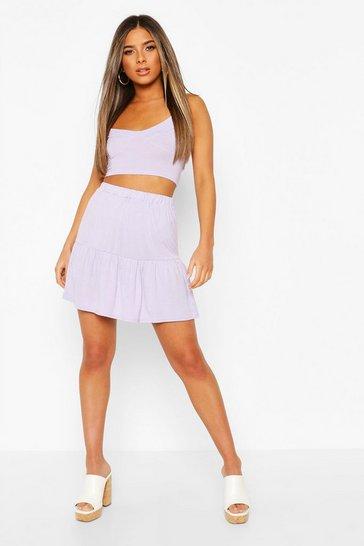Lilac Petite Tiered Mini Skater Skirt