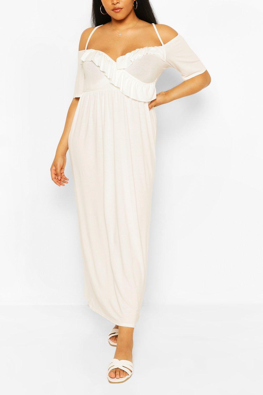 Boohoo Plus Ruffle Open Shoulder Jersey Maxi Dress