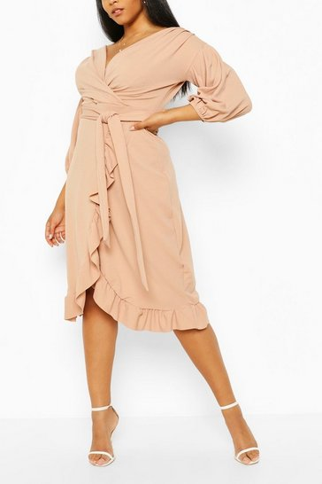 Stone Plus Ruffle Wrap Tie Waist Midi Dress