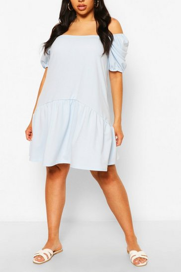 Sky Plus Puff Sleeve Smock Dress