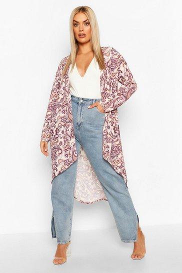 Blush Plus Paisley Print Kimono