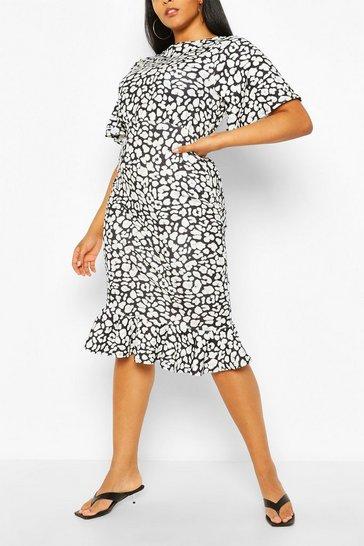 Black Plus Leopard Ruffle Hem Midi Dress