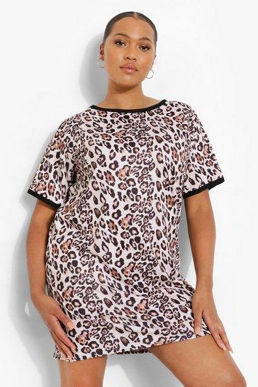 Brown Plus Leopard Ringer T-shirt Dress