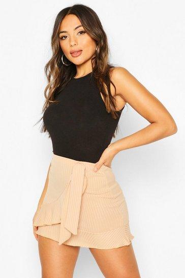 Stone Petite Frill Edge Wrap Skirt