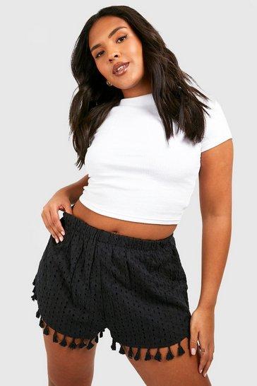Black Plus Broderie Tassel Hem Shorts