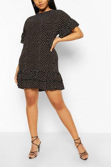 Black Plus Polka Dot Ruffle Shift Dress