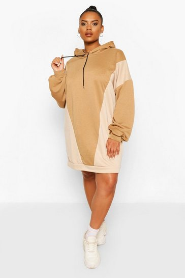 Camel Plus Hooded Colour Block Sweat Dress