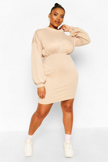 Stone Plus High Neck Puff Sleeve Sweat Dress