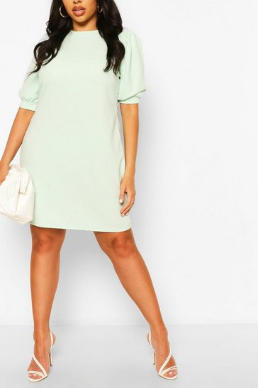 Mint Plus Puff Sleeve Shift Dress