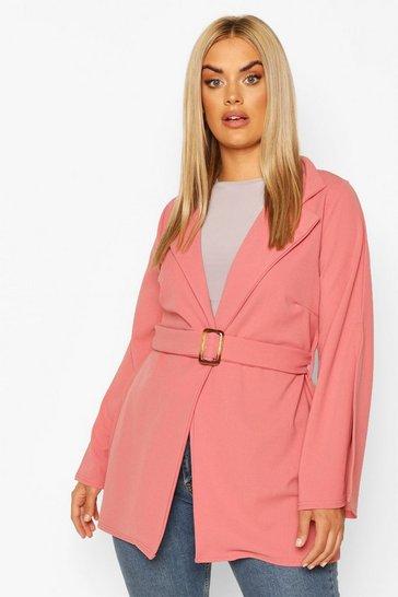 Dusky pink Plus Split Sleeve Self Belt Blazer
