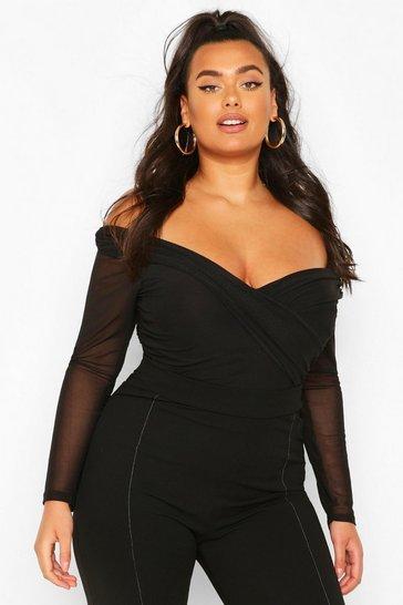 Black Plus Ruched Mesh Wrap Bodysuit