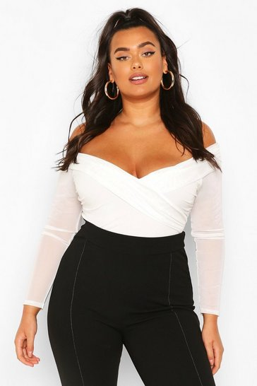 White Plus Ruched Mesh Wrap Bodysuit