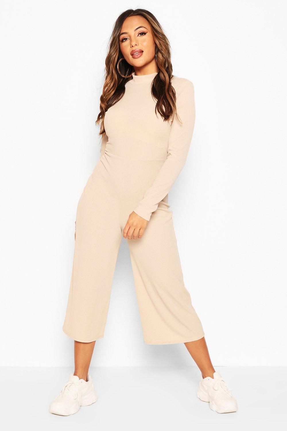 boohoo Womens Petite High Neck Ribbed Culotte Jumpsuit - Beige - 14, Beige