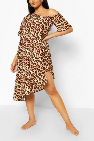 Brown Plus Off The Shoulder Leopard Beach Dress