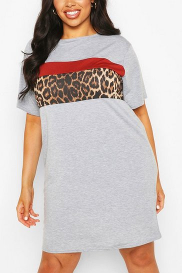 Grey Plus Animal Contrast Colour Block T-Shirt Dress