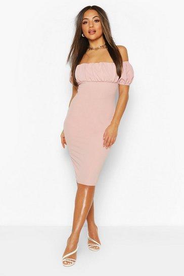 Rose Petite Puff Off Shoulder Midi Dress